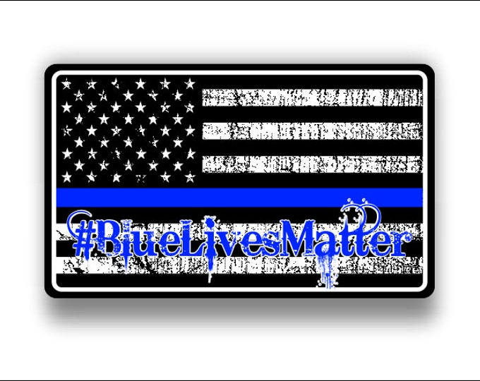 blue lives matter Subdued American flag Decal/Sticker  **Free Shipping**