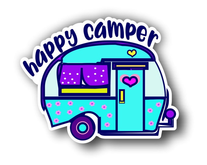 Happy Camper RV Vinyl Sticker Decal Bumper Sticker for Auto Cars Trucks Windshield Windows Laptop Camper Kayak
