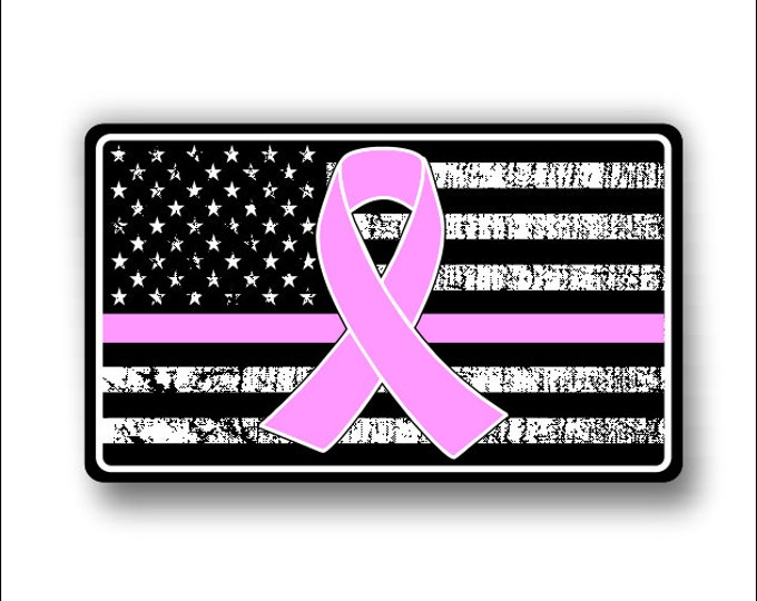 Cancer Support American Flag Decal/Sticker **Free Shipping**