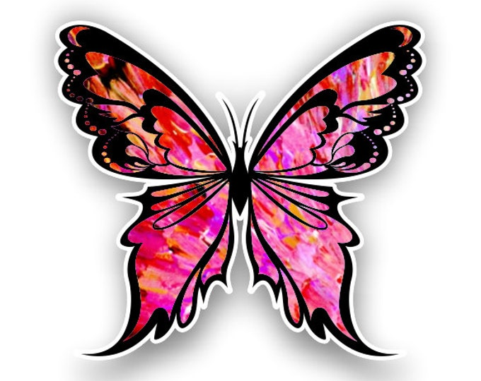 Red-pink Butterfly sticker / decal**Free Shipping**
