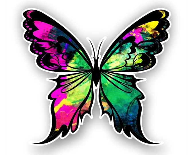 Hot pink -Green Butterfly sticker / decal**Free Shipping**