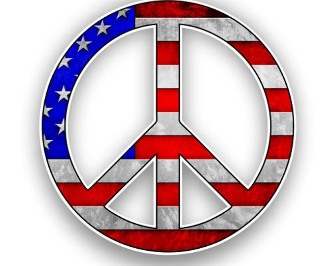 Peace Sign American Flag Sticker Car Motorcycle Bicycle Skateboard Laptop Luggage Decals Bumper Stickers Waterproof