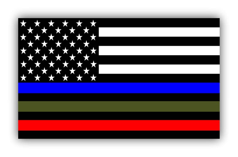 7f029d246494 Police Military and Fire Thin Line USA Flag Decal American Flag Sticker  Blue Green and Red stripe for cars trucks for honor and support