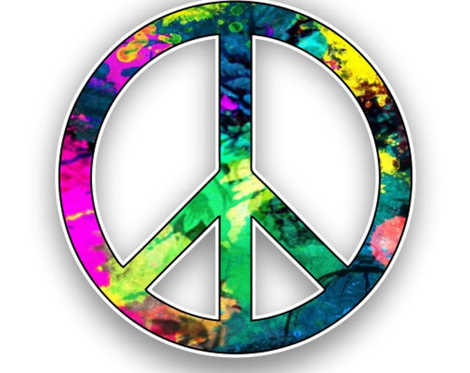 Peace Sign Hot Pink and Green Tie Dye Sticker Car Motorcycle Bicycle Skateboard Laptop Luggage Decals Bumper Stickers Waterproof