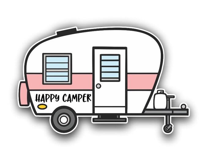 RV Happy Camper Vinyl Sticker Decal Bumper Sticker for Auto Cars Trucks Windshield Windows Laptop Camper Kayak