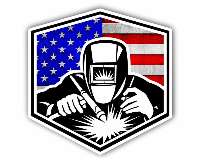 Arc Welder American Flag sticker for car truck laptop or any smooth surface  ***Free Shipping***