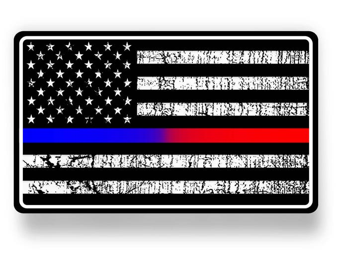 Police and Fire Dept. blue red line policeman fireman support back the blue got your 6 american flag sticker / decal **Free Shipping**