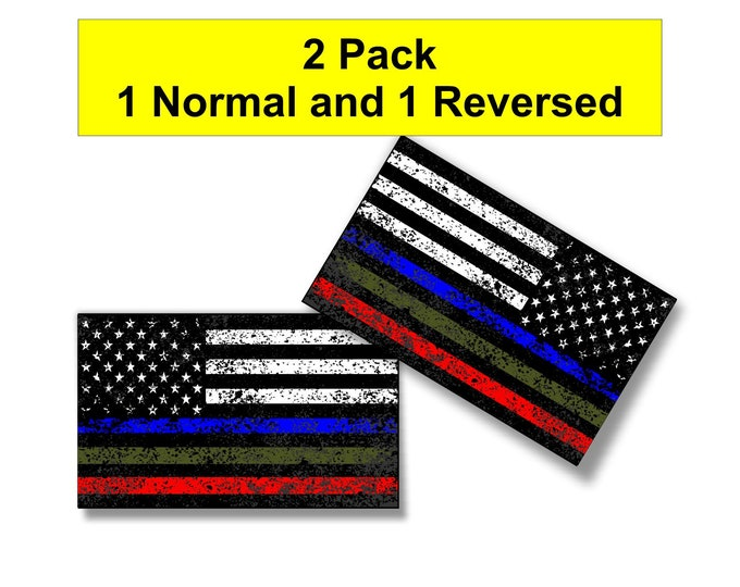 Police Military and Fire Thin Line Distressed  USA Flag Decal American Flag Sticker Blue Green and Red stripe for cars trucks