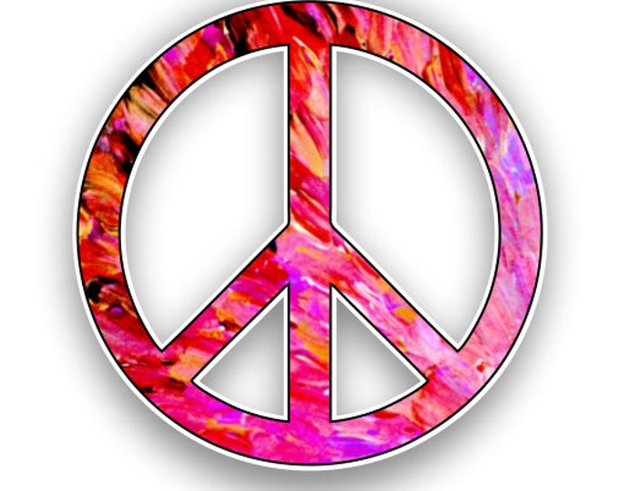Peace Sign Red-Pink Tie Dye Print Sticker Car Motorcycle Bicycle Skateboard Laptop Luggage Decals Bumper Stickers Waterproof