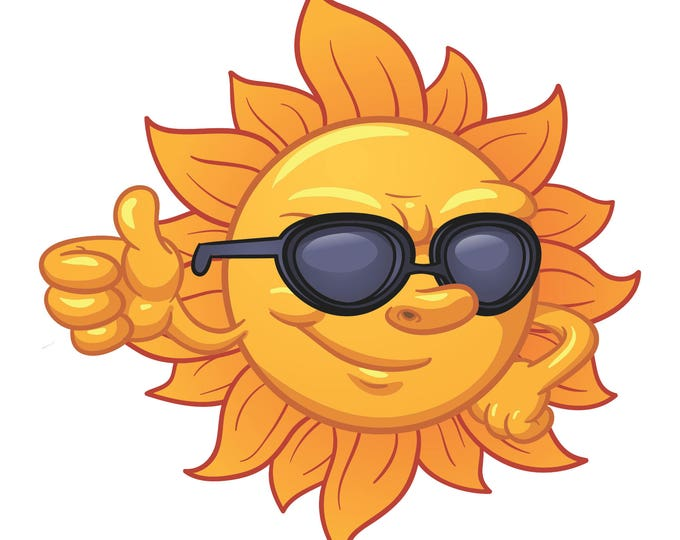 Sun Thumbs Up Sticker for car truck laptop or any smooth surface  ***Free Shipping***