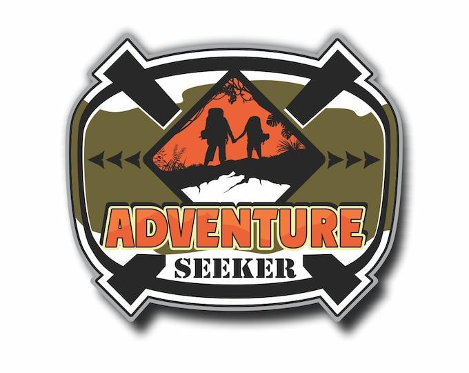 Adventure Seeker RV Camper Mountain Car Vinyl Sticker Decal Bumper Sticker for Auto Cars Trucks Windshield Windows Ipad Macbook Laptop