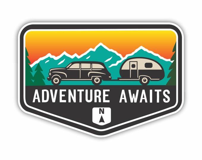 Adventure Awaits RV Camper Mountain Car Vinyl Sticker Decal Bumper Sticker for Auto Cars Trucks Windshield Windows Ipad Macbook Laptop