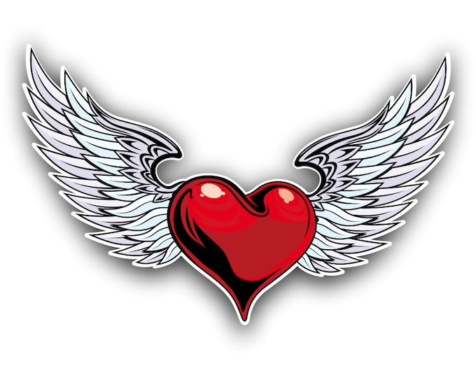 Heart and Angel Wings sticker / decal **Free Shipping**