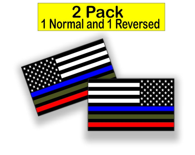 Police Military and Fire Thin Line USA Flag Decal American Flag Sticker Blue Green and Red stripe for cars trucks for honor and support