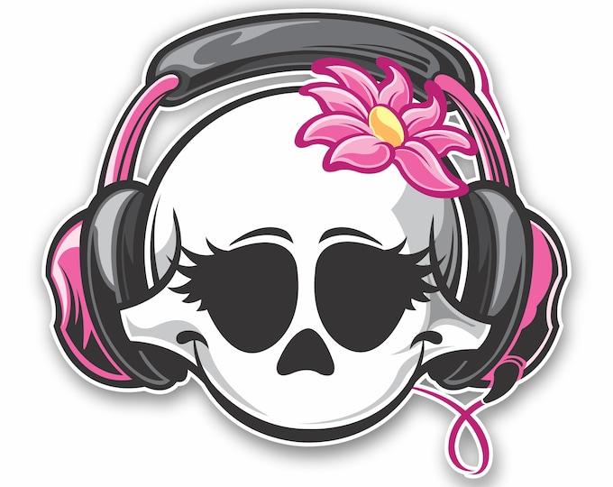 Pink DJ Skull with Headphones Car Sticker Motorcycle Bicycle Skateboard Laptop Luggage Decals Bumper Stickers Waterproof