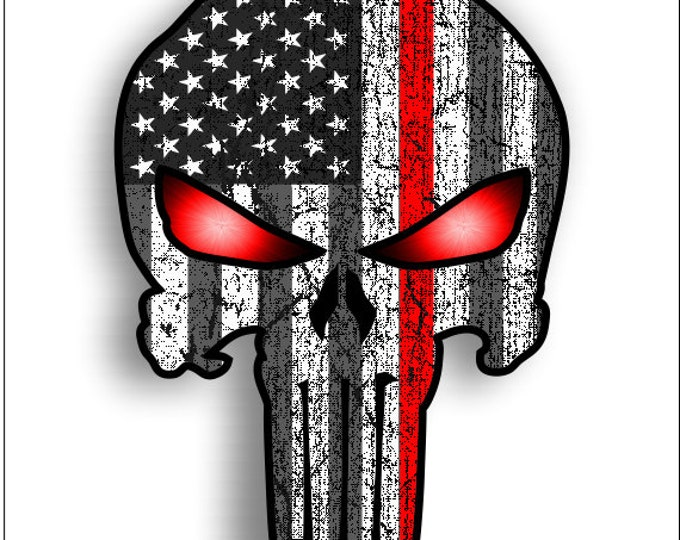 red line Punisher with subduded American Flag and Glowing Eyes sticker / decal **Free Shipping**
