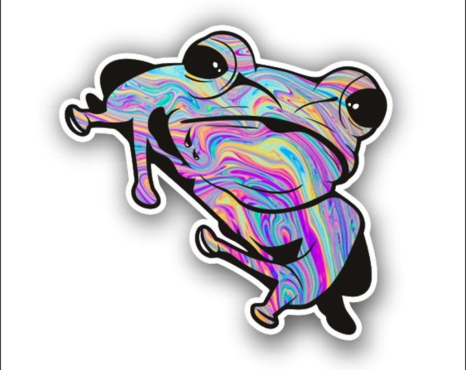 multi color tie dye tree frog sticker / decal **Free Shipping**