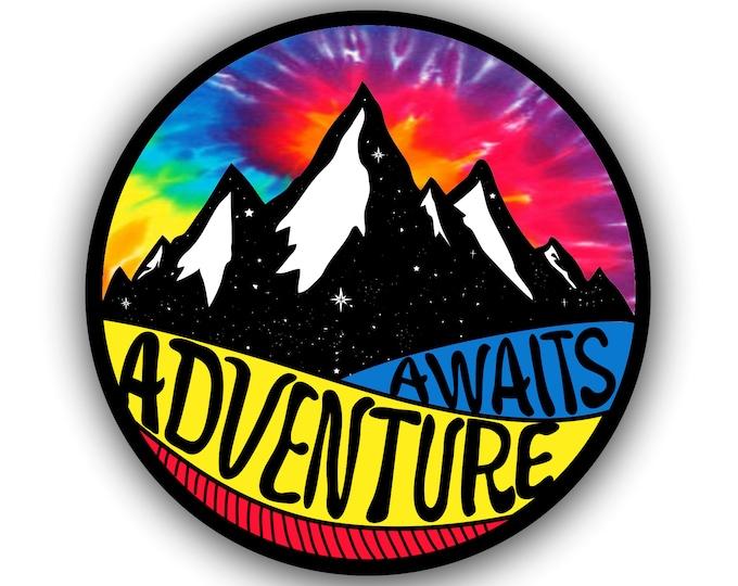 Adventure Awaits Mountain Car Vinyl Sticker Decal Bumper Sticker for Auto Cars Trucks Windshield Windows Ipad Macbook Laptop RV Camper