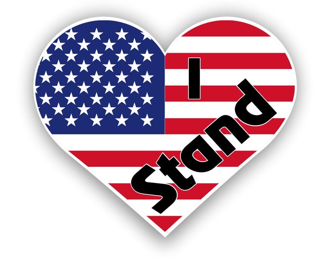 I Stand American Flag  sticker for laptop car decal and truck  5 inches x 4 inches   ***Free Shipping***