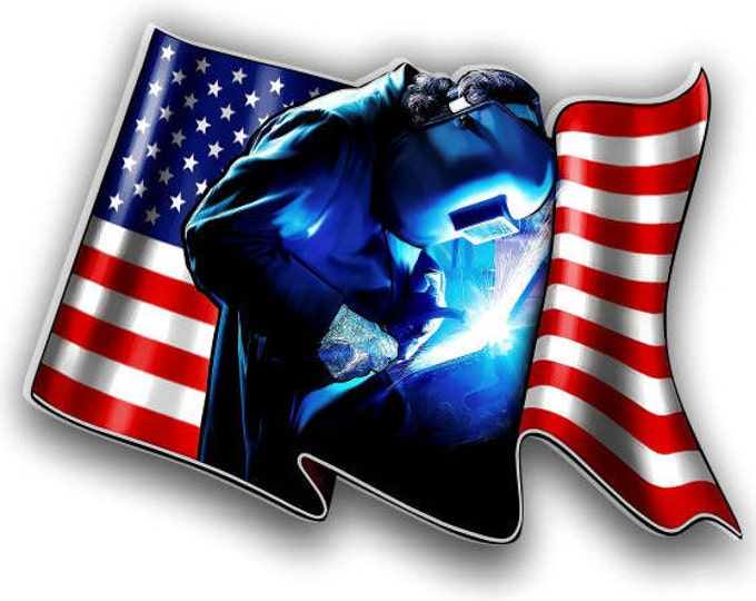 Welder American Flag sticker for car truck laptop or any smooth surface  ***Free Shipping***