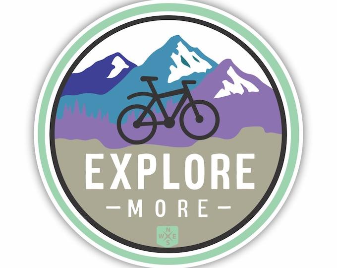 Explore More Mountain Bike Vinyl Sticker Decal Bumper Sticker for Auto Cars Trucks Windshield Windows Laptop RV Camper