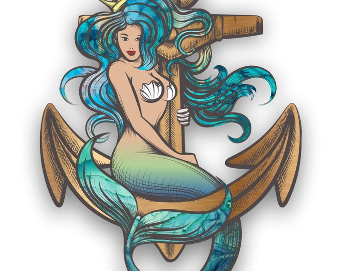 Mermaid Anchor Sticker for cars trucks laptops sticks to any smooth surface
