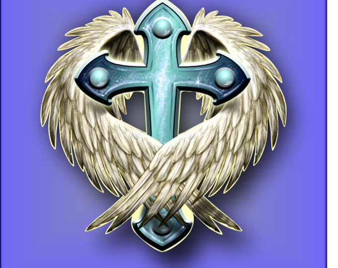 Angel Wings embracing Cross sticker / decal **Free Shipping**