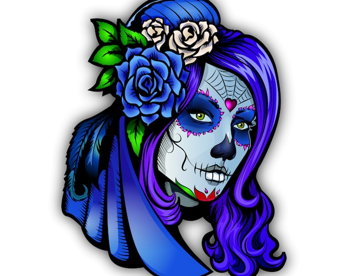 Sugar Skull Girl Day of The Dead Sticker Motorcycle Bicycle Skateboard Laptop Luggage Decals Bumper Stickers