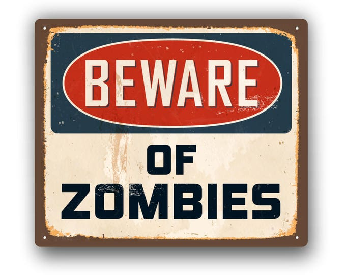 Beware of Zombies Funny Sticker  for car truck laptop or any smooth surface  ***Free Shipping***