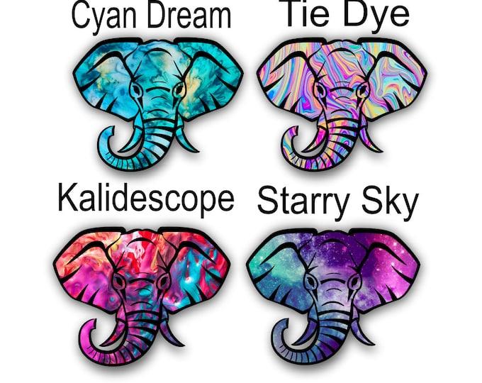 Elephant Sticker Tie Dye Pattern 4 inches
