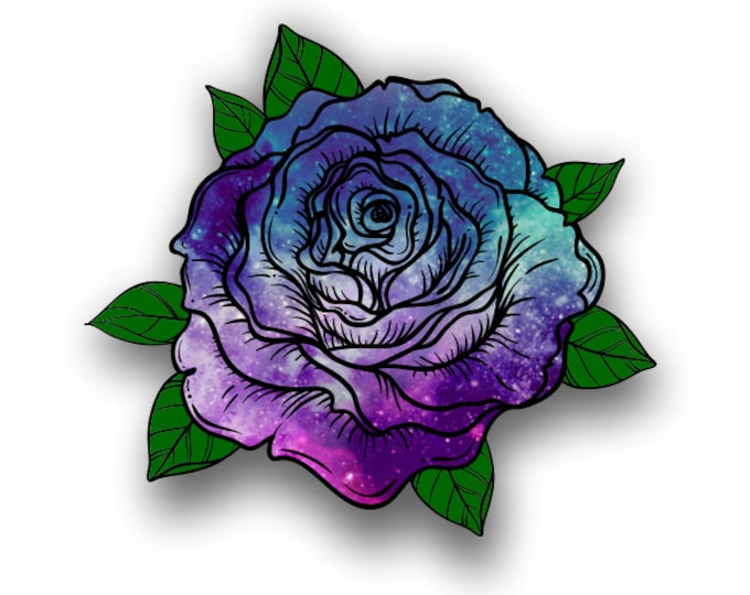Starry Sky Rose sticker / decal**Free Shipping**