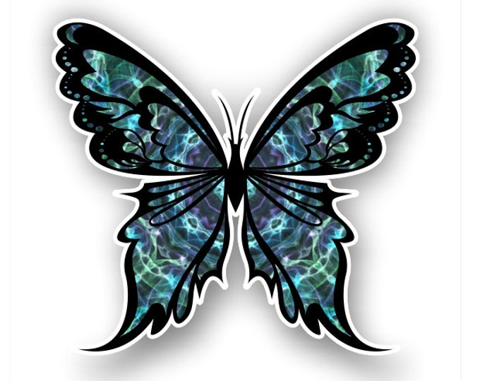 Blue-green Butterfly sticker / decal**Free Shipping**