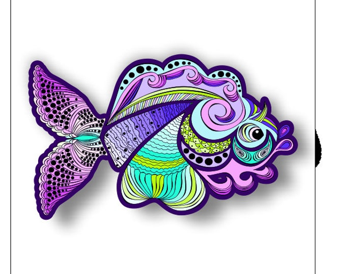 Fancy Purple Fish sticker / decal **Free Shipping**