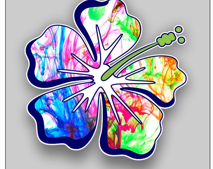 Hibiscus Flower color burst sticker / decal **Free Shipping**