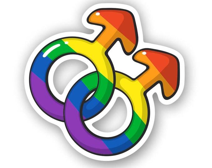 Gay Pride Men LGBT Rainbow Symbol Sticker Love Wins Sticker Decal Bumper Sticker for Auto Cars Trucks Windshield Custom Walls Windows Laptop