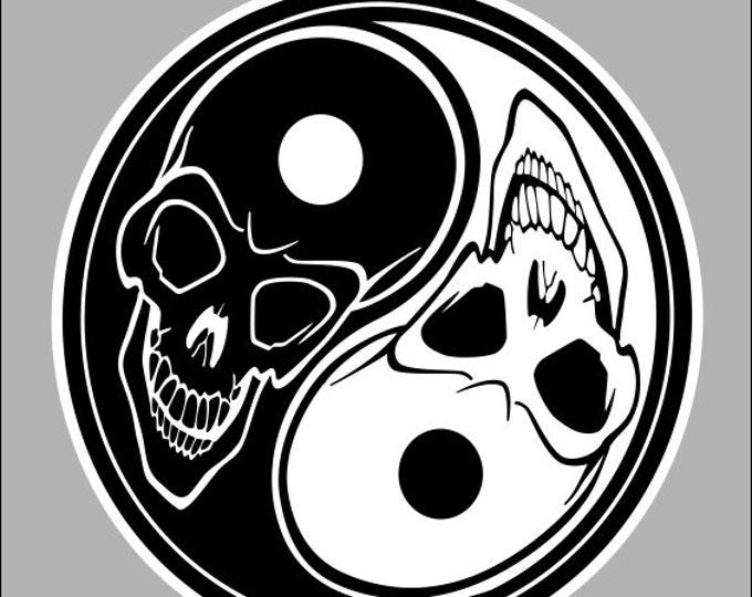 yin yang skull sticker / decal **Free Shipping**