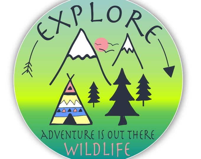Explore Adventure is Out There Vinyl Decal Bumper Sticker for Auto Cars Trucks Windshield Windows Laptop RV Camper Kayak