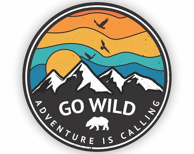 Go Wild Adventure Is Calling Car Vinyl Sticker Decal Bumper Sticker for Auto Cars Trucks Windshield Windows Laptop RV Camper Kayak