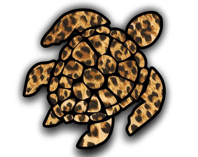 4 Inch Leopard Print Sea Turtle Sticker laptop truck car window Decal custom printed design   **Free Shipping**