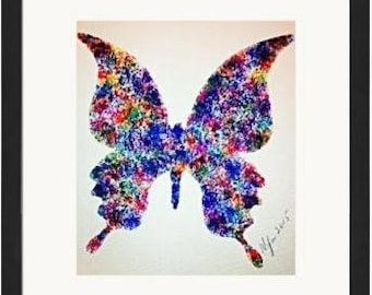 Hand Painted Blue Butterfly 5X7