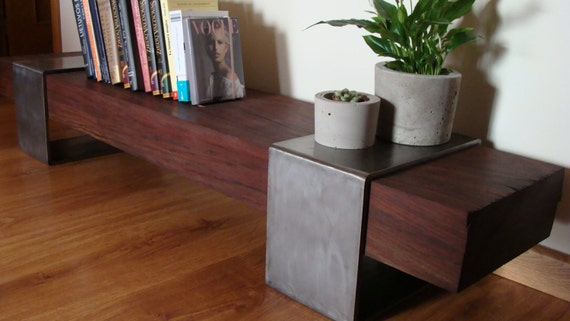 Low Table Wooden Bench Wood And Metal Modern Unique Etsy