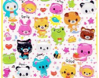Kawaii Animals Epoxy Stickers
