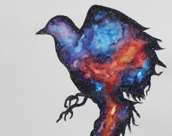 Universe in Flight Cosmic Bird Original Watercolor Painting
