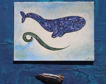 Blue Swirl Whale Wave Original Watercolor Painting