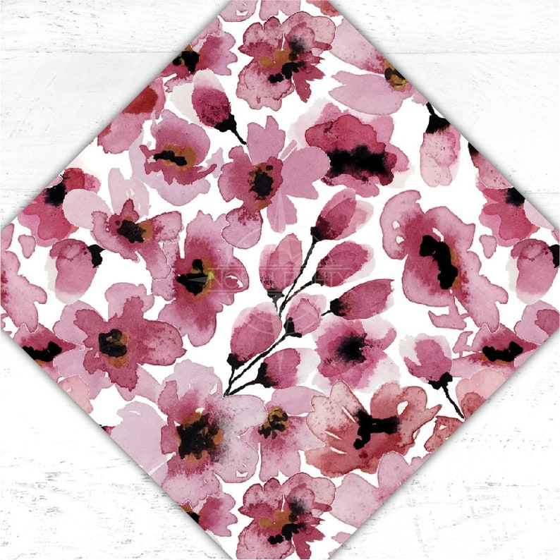 Pink Cherry Blossom Printed Heat Transfer Vinyl and Adhesive image 0