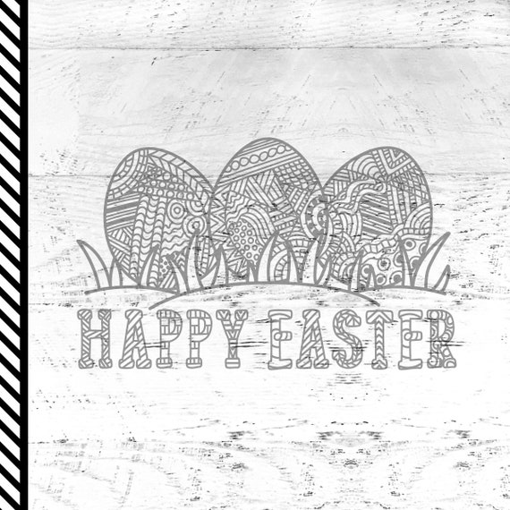 Easter Coloring Book svg - Happy Easter svg - Easter Eggs
