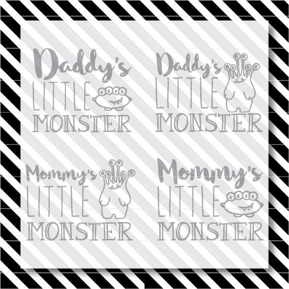 Mommy S Little Monster Svg Cut File Daddy S Little Etsy