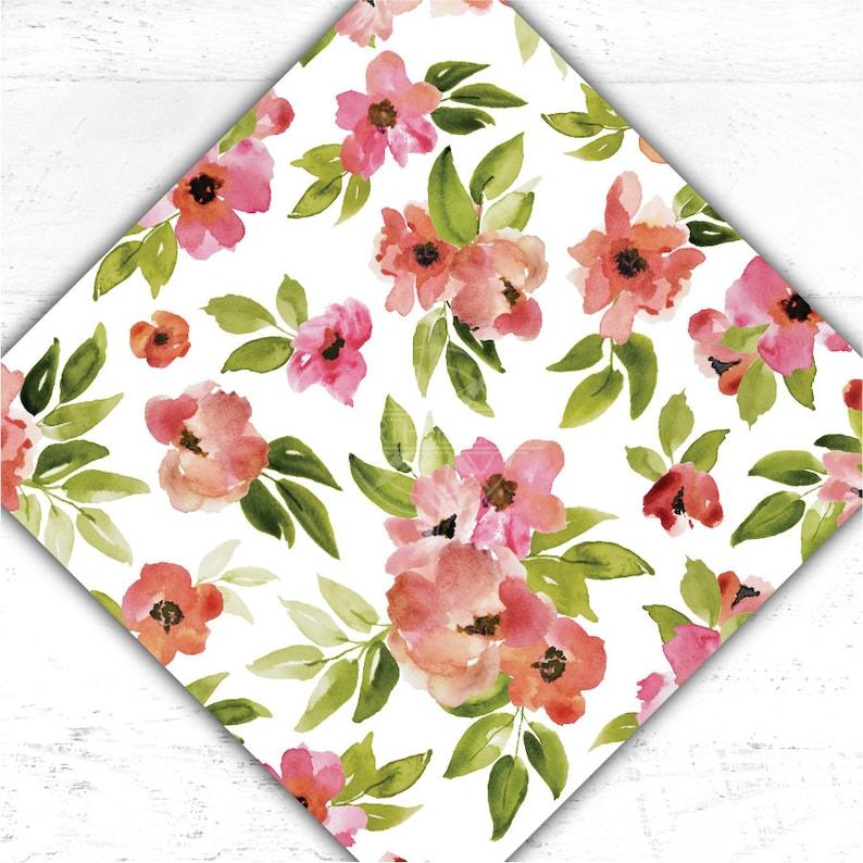 Pink Floral Heat Transfer Vinyl  Flower Adhesive Vinyl  image 0