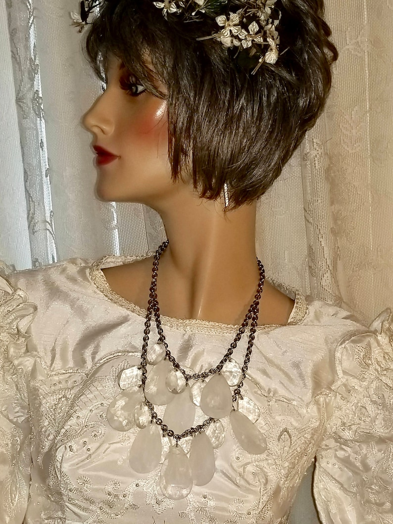 Graziano Frosted Marble Teardrop Lucite Plastic Dangles Chunky Bib Necklace Gorgeous R Vintage Retro 1990/'s J