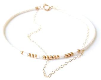 seed bead bracelet  gold chain bracelet tiny delicate bracelet ombre Bracelet Layering Gold bracelet